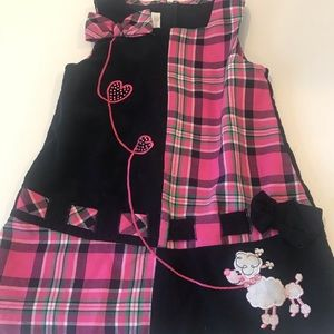 Toddler Girl plaid embroidery poodle dress sz 2T